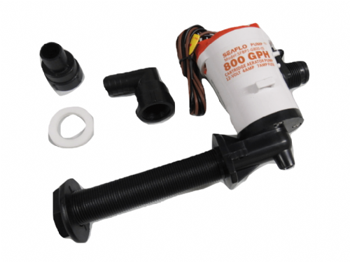Live Bait Well Pump 12V 800GPH - 90 Degree Tank Aerator Cartridge Bilge